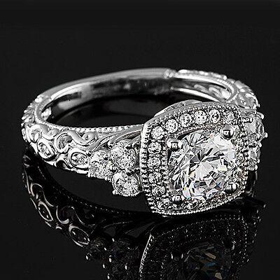 2 CT Diamond Engagement Ring Round Cut 14K White Gold Enhanced D/SI
