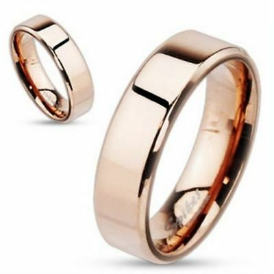 6mm Beveled Edge Flat Band Rose Gold IP Over Stainless Steel Ring Size 5-13