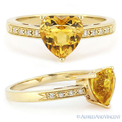 1.25ct Heart-Shape Citrine Round Diamond Right-Hand Promise Ring 14k Yellow Gold
