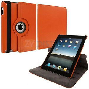 Orange PU Leather 360 Rotating Case Cover for Ipad Mini 1 2 3