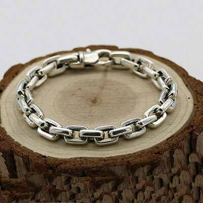 Men's 925 Sterling Silver Bracelet  Link Classical Chain Loop Jewelry 6.3