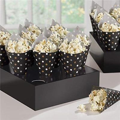 Amscan 42: Black Buffet Snack Cones with Tray (Snack Cones)
