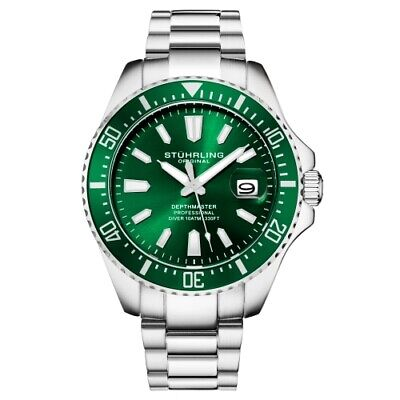 Stuhrling 3950A 3 Aquadiver Date Stainless Steel Green Dial Mens Watch
