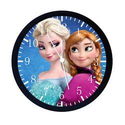 Disney Frozen Elsa Anna Black Frame Wall Clock Nice For Decor or Gifts W475
