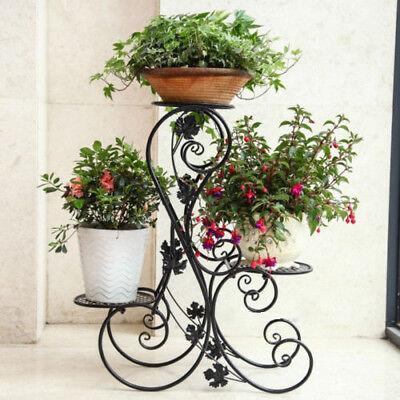 3 Tier Plant Stands - 3 Tier Metal Plant Stand Garden Decor Planter Holder Flower Pot Shelf Rack Black