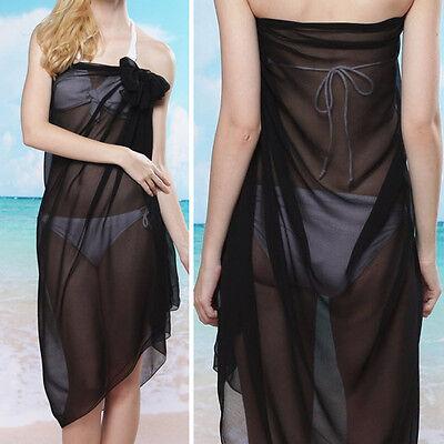 Black Solid Color Sheer Pareo Dress Sarong Beach Bikini Swim Cover Up Scarf Wrap