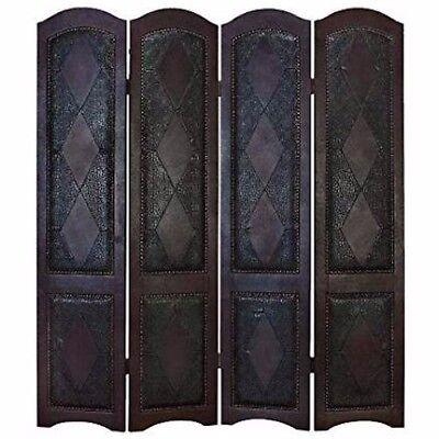 - 72 X 64, DARK CHESTNUT, WOOD & LEATHER, ROOM-DIVIDER-SCREEN, PRIVACY FURNITURE