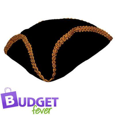 Caribbean Pirate Hat Mens Ladies Fancy Dress Black & Gold Pirate Hat Costume Acc
