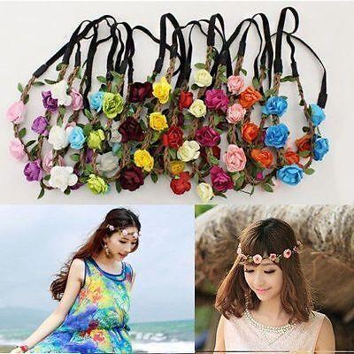 1X Rose Flower Wreath Crown Head Chain Jewelry Hollow Elastic Hair Band Headband (Headband Flowers)
