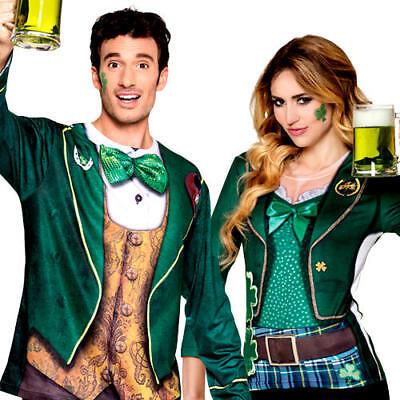 Realistic Irish Shirt Adults Fancy Dress Leprechaun St Patricks Day Costume Tops
