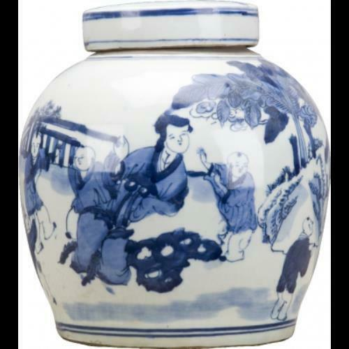 Antique Style X-Large Blue & White Ladies Chinoiserie Flat Lidded Porcelain Jar
