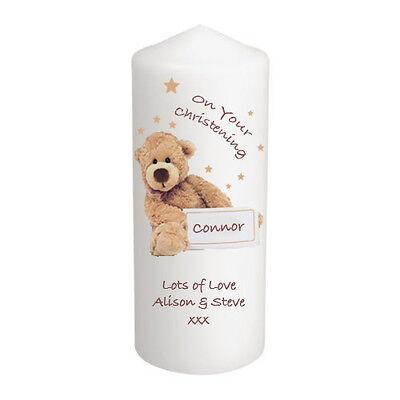 Personalised New Baby Christening Candle Teddy Bear, Gift Keepsake Godparents et