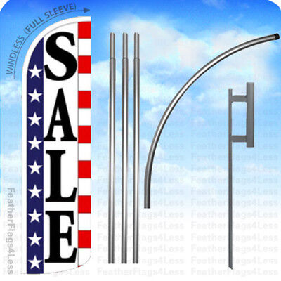 Sale - Windless Swooper Flag 15 Kit Feather Banner Sign - Stars Stripes Wq