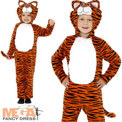 Tiger Kids Fancy Dress Wild Cat Jungle Animal Book Day Week Child Costume Outfit (Jungle Dress Up Costumes)