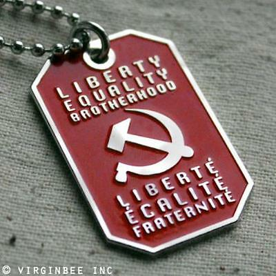 LIBERTY EQUALITY BROTHERHOOD MOTTO SOCIALIST PENDANT DOG TAG BALL CHAIN NECKLACE