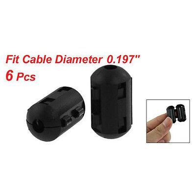 6 Pcs Clip On Emi Rfi Noise Ferrite Core Filter For 5mm Cable Lw Szus