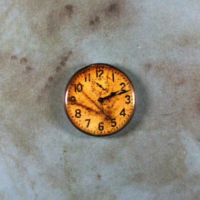 Vintage Style Clock Printed Pinback Button 1  Yellowed Cracked Face Time Keeper