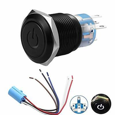Quentacy 19mm 34 Latching Pushbutton Switch 12v Power Symbol Led 1no1nc Spd...