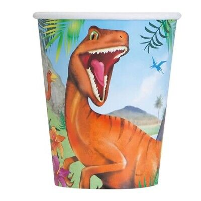 DINOSAUR JUNGLE 9oz PAPER CUPS (8) ~ Birthday Party Supplies Beverage Drinking (Jungle Birthday Supplies)