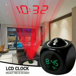 LED Digital Alarm Clock Voice Talking Temperature Wall Ceiling LCD Projection