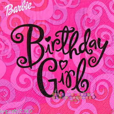 Girl Birthday Supplies (BARBIE BIRTHDAY GIRL SMALL NAPKINS (16) ~ Birthday Party Supplies Beverage)