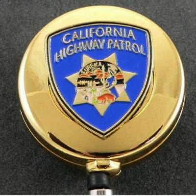 CHP California Highway Patrol Police Patch ID Badge Holder Pull Reel Gold