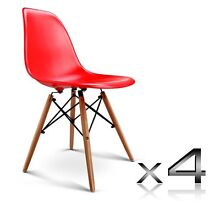 4 x Retro ABS Dining Chairs Home Office w/ Beech Wood Legs Red Bayswater Knox Area Preview