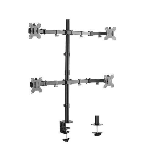 Quad Monitor Desk Mount Adjustable Clamp Stand Heavy Duty 4 Screens up to 32""
