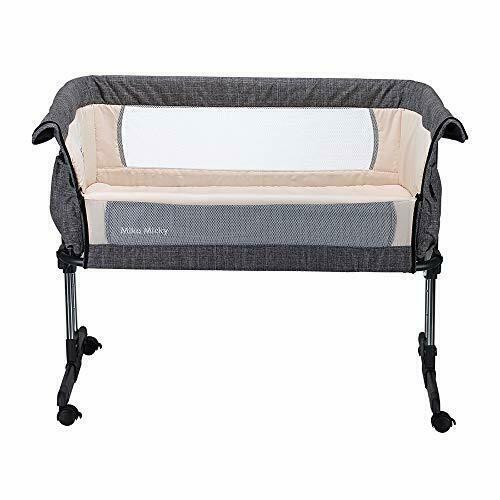 Mika Micky Bedside Sleeper Bedside Crib Easy Folding Portable Crib Grey