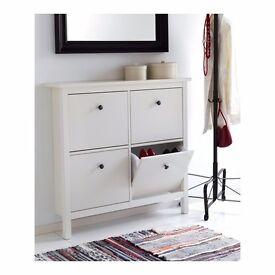 White hemnes shoe cabinet