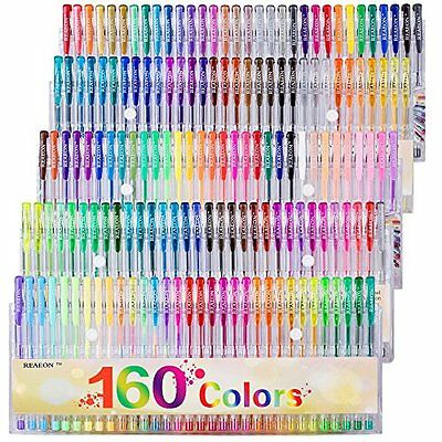 Gel Pens Colors Set, Reaeon 160 Unique Colored Gel Pen for Adults Coloring Books