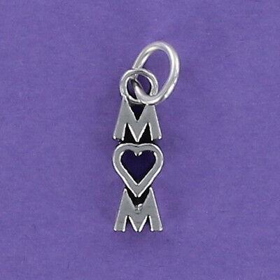 MOM Charm Sterling Silver 925 for Bracelet Letters Heart Mother Mommy Vertical](Mom Charm Bracelet)