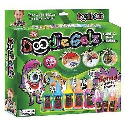 20pcDoodle Gelz Paint and Peel Stickers Kids Craft Colour Paints Decoration Set