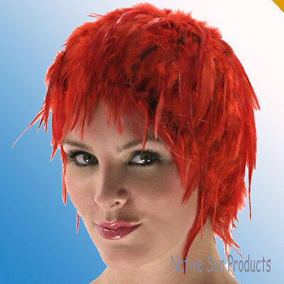 Wig Rooster Hackle Feathers Halloween Costume Punk Retro New RED (Rooster Halloween Costume)
