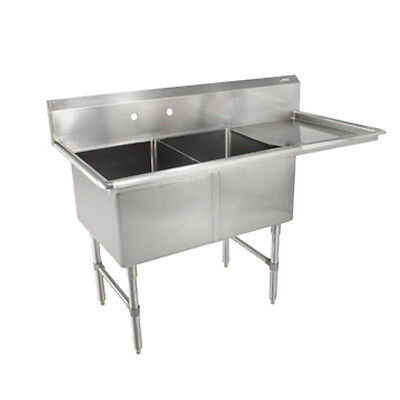 John Boos 2b184-1d18r Two Compartment Sink W 18 Right Drainboard