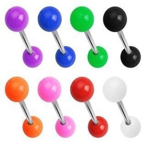 T#150 - 27pc Solid Color UV Acrylic Tongue Rings 14g Tounge