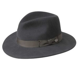 Heather Grey Fedora Men's 7 1/8 Wool with silk band 50's Style