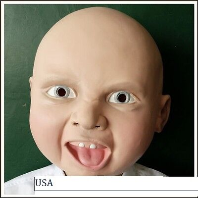 Realistic latex Happy baby  mask halloween adult cosplay scary Premium Quality](Halloween Scary Baby)