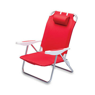 MONACO BEACH CHAIR PORTABLE BACKPACK FOLDING SEAT LIGHTWEIGHT w/ ARMREST - RED