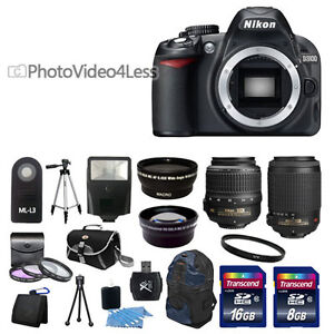 NEW Nikon D3200 Digital SLR Camera + 4 Lens: 18-55mm 55-200 + 24GB Complete Kit