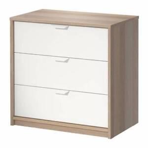 IKEA Malm Single Bed + Drawers - White Oak Vener
