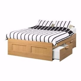 *Nearly New* IKEA BRIMNES Oak Double Bed Frame w/ 4 Drawers + LUROY Slats