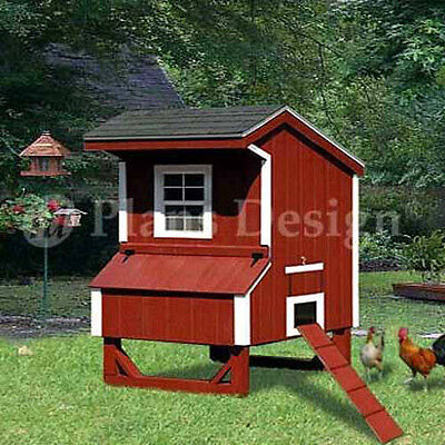 5x4 Saltbox Style Small Chicken Poultry Coop Plans 90504s Free Chicken Run