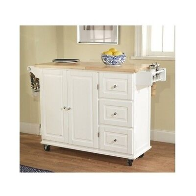 Kitchen Island Cart Rolling Buffet Microwave Table Drop Leaf Counter Storage Whi