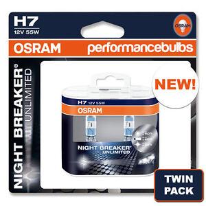 h7 osram night breaker plus unlimited car bulbs brand new twin pack 2 x h7 ebay. Black Bedroom Furniture Sets. Home Design Ideas