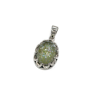 Elegant Roman Glass Oval Pendant -  Sterling Silver .925