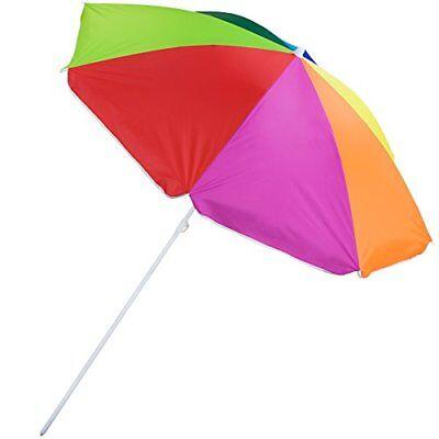Rainbow Beach Umbrella - Sol Coastal 8' Rainbow Beach and Patio Umbrella with Adjustable Height &Tilt