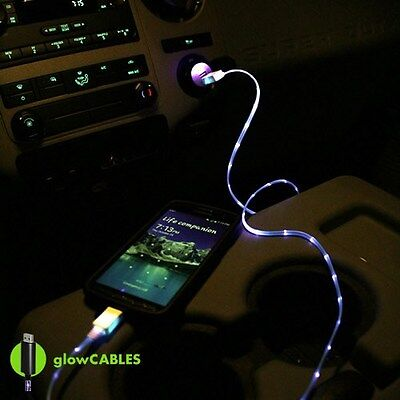 Blue Car Charger – Micro USB Cell Phone Smart Fast LED Glow Cable Light Up Glo