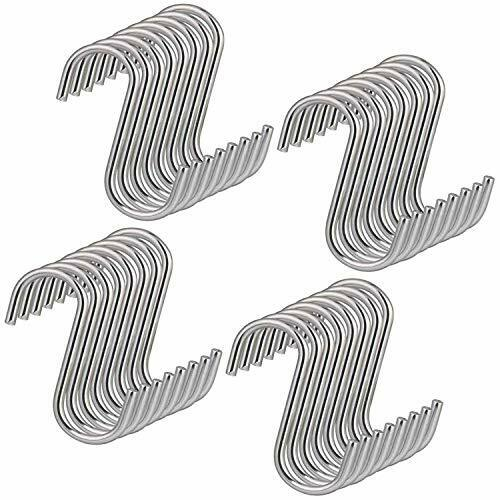S Shaped Hanging Hooks Stainless Steel Kitchen S Hooks for Spoon Pan Pot 20PCS
