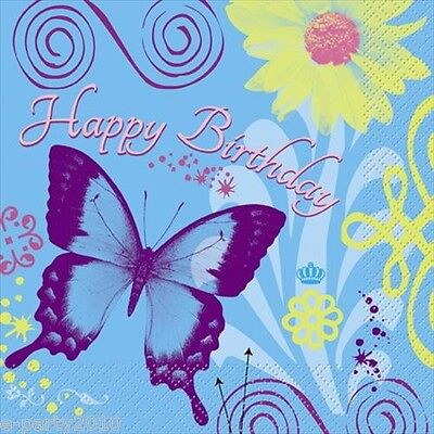 BUTTERFLY CHIC HAPPY BIRTHDAY LUNCH NAPKINS (16) ~ Party Supplies Dinner - Chic Party Supplies